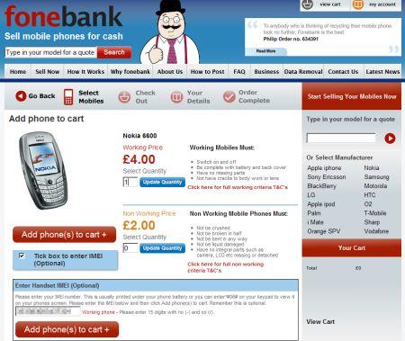 Fonebank Website - Nokia 6600 Details