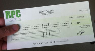 Cheque in from RPC Mobile